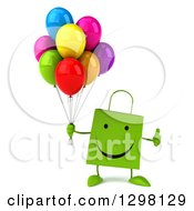 Clipart Of A 3d Happy Green Shopping Or Gift Bag Character Holding Party Balloons And A Thumb Up Royalty Free Illustration