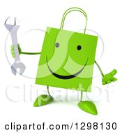 Clipart Of A 3d Happy Green Shopping Or Gift Bag Character Shrugging And Holding A Wrench Royalty Free Illustration