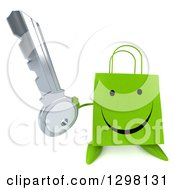 Clipart Of A 3d Happy Green Shopping Or Gift Bag Character Holding Up A Key Royalty Free Illustration