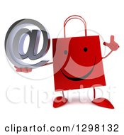 Clipart Of A 3d Happy Red Shopping Or Gift Bag Character Holding Up A Finger And An Email Arobase At Symbol Royalty Free Illustration