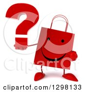 Clipart Of A 3d Happy Red Shopping Or Gift Bag Character Holding And Pointing To A Question Mark Royalty Free Illustration