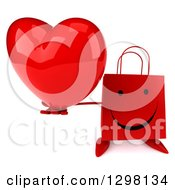 Clipart Of A 3d Happy Red Shopping Or Gift Bag Character Holding Up A Heart Royalty Free Illustration