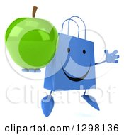 Clipart Of A 3d Happy Blue Shopping Or Gift Bag Character Facing Slightly Right Jumping And Holding A Green Apple Royalty Free Illustration