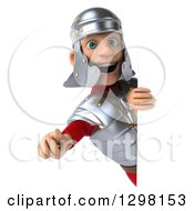Clipart Of A 3d Young Male Roman Legionary Soldier Pointing Outwards Around A Sign Royalty Free Illustration