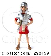 Clipart Of A 3d Young Male Roman Legionary Soldier Standing With Hands On His Hips Royalty Free Illustration