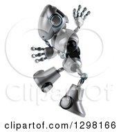Clipart Of A 3d Silver Male Techno Robot Facing Right And Jumping Royalty Free Illustration by Julos