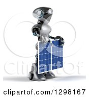 Clipart Of A 3d Silver Male Techno Robot Facing Right And Holding A Solar Panel Royalty Free Illustration by Julos