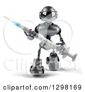 Clipart Of A 3d Silver Male Techno Robot Walking With A Giant Vaccination Syringe Royalty Free Illustration by Julos
