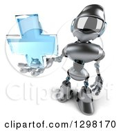 Clipart Of A 3d Silver Male Techno Robot Holding Up A Blue Medical Cross Royalty Free Illustration by Julos