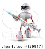 Clipart Of A 3d White And Orange Robot Walking With A Vaccine Syringe Royalty Free Illustration
