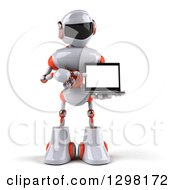 Clipart Of A 3d White And Orange Robot Holding And Pointing To A Laptop Royalty Free Illustration