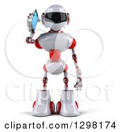 Clipart Of A 3d White And Red Robot Talking On A Smart Cell Phone Royalty Free Illustration