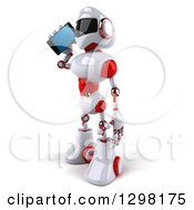 Clipart Of A 3d White And Red Robot Facing Left And Talking On A Smart Cell Phone Royalty Free Illustration