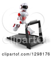 Clipart Of A 3d White And Red Robot Facing Slightly Right And Running On A Treadmill Royalty Free Illustration