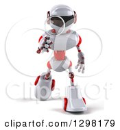 Clipart Of A 3d White And Red Robot Walking Forward And Searching With A Magnifying Glass Royalty Free Illustration