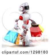 Clipart Of A 3d White And Red Robot Walking To The Right And Carrying Shopping Bags Royalty Free Illustration