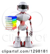 Clipart Of A 3d White And Red Robot Holding A Stack Of Books Royalty Free Illustration
