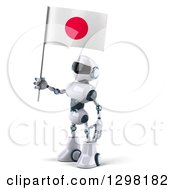 Clipart Of A 3d White And Blue Robot Facing Left And Holding A Japanese Flag Royalty Free Illustration