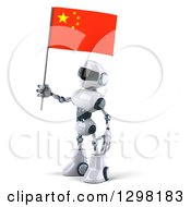 Clipart Of A 3d White And Blue Robot Facing Left And Holding A Chinese Flag Royalty Free Illustration