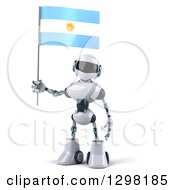 Clipart Of A 3d White And Blue Robot Holding An Argentine Flag Royalty Free Illustration