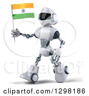 Clipart Of A 3d White And Blue Robot Walking To The Left And Holding An Indian Flag Royalty Free Illustration