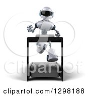 Clipart Of A 3d White And Blue Robot Running On A Treadmill Royalty Free Illustration