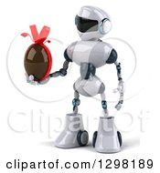 Clipart Of A 3d White And Blue Robot Holding A Chocolate Easter Egg Royalty Free Illustration