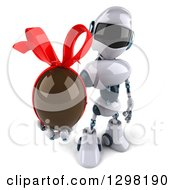 Clipart Of A 3d White And Blue Robot Holding Up A Chocolate Easter Egg Royalty Free Illustration