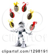 Clipart Of A 3d White And Blue Robot Facing Slightly Left Looking Up And Juggling Chocolate Easter Eggs Royalty Free Illustration