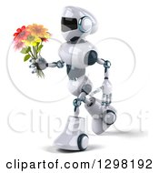 Clipart Of A 3d White And Blue Robot Walking To The Left With A Bouquet Of Flowers Royalty Free Illustration