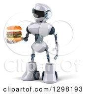 Clipart Of A 3d White And Blue Robot Holding And Looking At A Double Cheeseburger Royalty Free Illustration