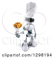 Clipart Of A 3d White And Blue Robot Chef Holding Up French Fries Royalty Free Illustration