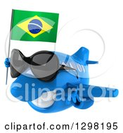 Clipart Of A 3d Happy Blue Airplane Wearing Sunglasses Flying To The Left With A Brazilian Flag Royalty Free Illustration