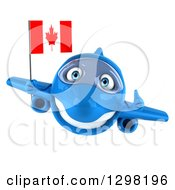 Clipart Of A 3d Happy Blue Airplane Giving A Thumb Up And Holding A Canadian Flag Royalty Free Illustration