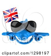 Clipart Of A 3d Blue Airplane Wearing Sunglasses And Flying With A British Flag Royalty Free Illustration