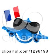 Clipart Of A 3d Happy Blue Airplane Giving A Thumb Up And Flying With A French Flag Royalty Free Illustration