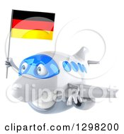Clipart Of A 3d Happy White Airplane Flying To The Left With A German Flag Royalty Free Illustration