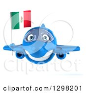 Clipart Of A 3d Hapy Blue Airplane Flying With A Mexican Flag Royalty Free Illustration