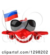 Clipart Of A 3d Happy Red Airplane Wearing Sunglasses And Flying With A Russian Flag Royalty Free Illustration