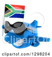 Clipart Of A 3d Blue Airplane Wearing Sunglasses And Flying To The Left With A South African Flag Royalty Free Illustration
