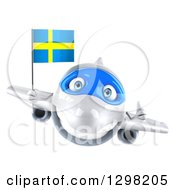 Clipart Of A 3d White Airplane Giving A Thumb Up And Flying With A Swedish Flag Royalty Free Illustration