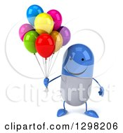 Clipart Of A 3d Happy Blue And White Pill Character Holding Party Balloons Royalty Free Illustration