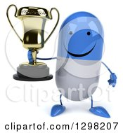 Clipart Of A 3d Happy Blue And White Pill Character Holding A Trophy Royalty Free Illustration