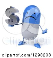 Clipart Of A 3d Unhappy Blue And White Pill Character Shrugging And Holding A Dollar Currency Symbol Royalty Free Illustration
