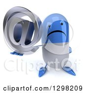 Clipart Of A 3d Unhappy Blue And White Pill Character Holding Up An Email Arobase At Symbol Royalty Free Illustration