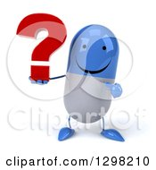 Clipart Of A 3d Happy Blue And White Pill Character Holding And Pointing To A Question Mark Royalty Free Illustration