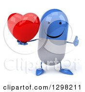 Clipart Of A 3d Happy Blue And White Pill Character Holding A Heart And Thumb Up Royalty Free Illustration