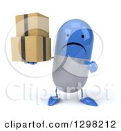 Clipart Of A 3d Unhappy Blue And White Pill Character Holding And Pointing To Boxes Royalty Free Illustration