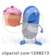 Clipart Of A 3d Happy Blue And White Pill Character Holding A Pink Frosted Cupcake Royalty Free Illustration