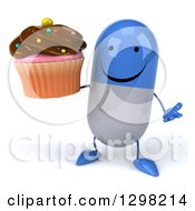 Clipart Of A 3d Happy Blue And White Pill Character Shrugging And Holding A Chocolate Frosted Cupcake Royalty Free Illustration